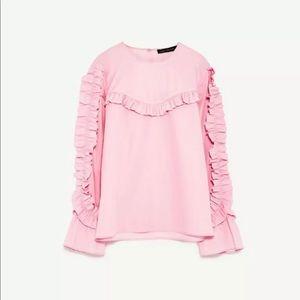 Zara Pink Frilled Ruffled Blouse Long Sleeve